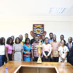 The Debaters team with the Vice-Chancellor and other officials of the University